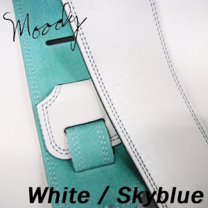 "Moody 무디 스트랩/멜빵 Leather / Suede - 2.5"" - Std (White / Skyblue)뮤직메카"