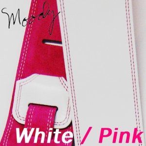 "Moody 무디 스트랩/멜빵 Leather / Suede - 2.5"" - Std (White/Pink)뮤직메카"