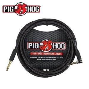 PIG HOG 피그호그 기타케이블 BLACK WOVEN 3m INSTRUMENT CABLE, RIGHT ANGLE
